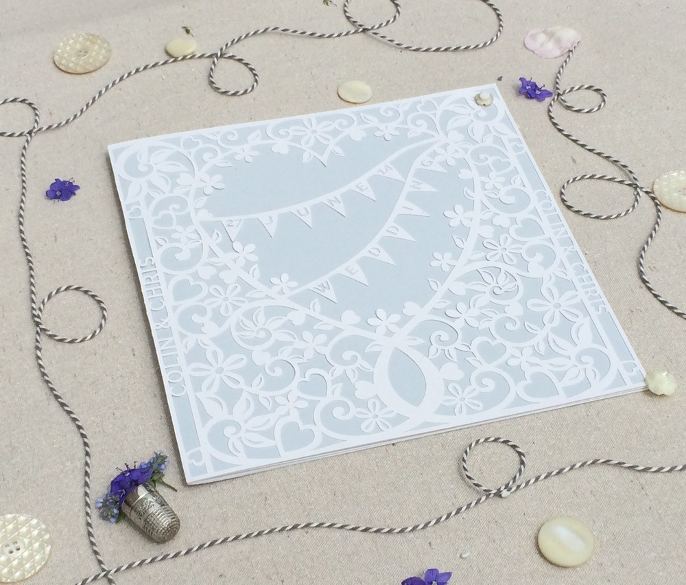 Filligree Heart paper cut invitation