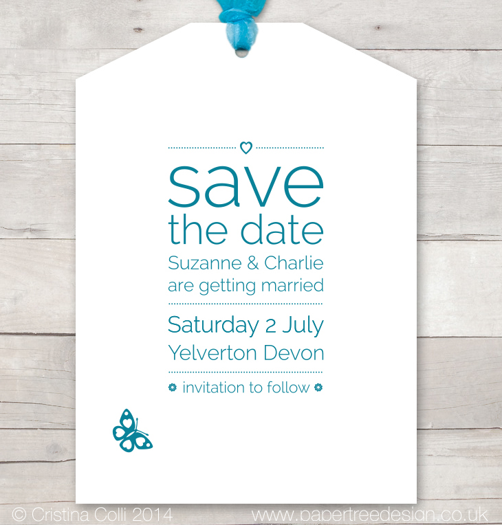 Luggage tag style  save the date card