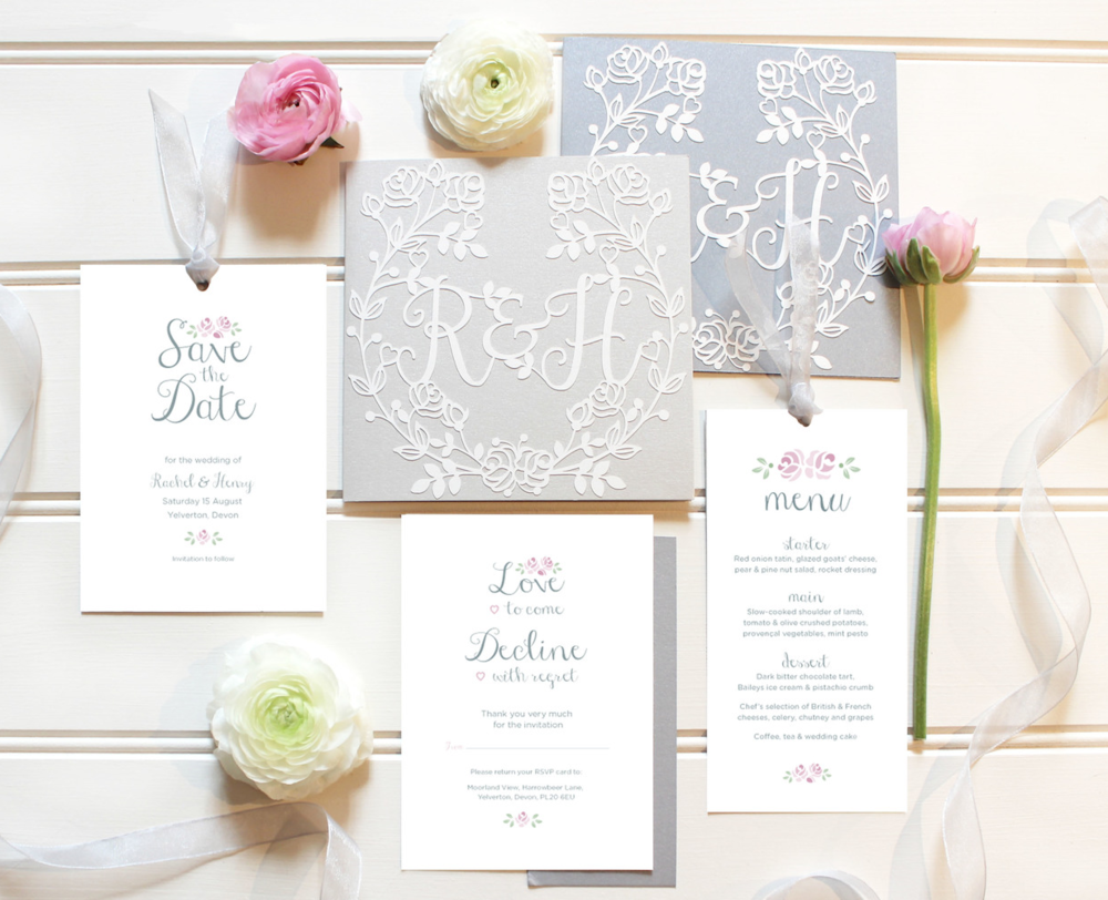 Vintage Rose Bowl wedding stationery suite in silver (my favourite!). Print in lilac and grey. all print items bacxked with the lovely silver card