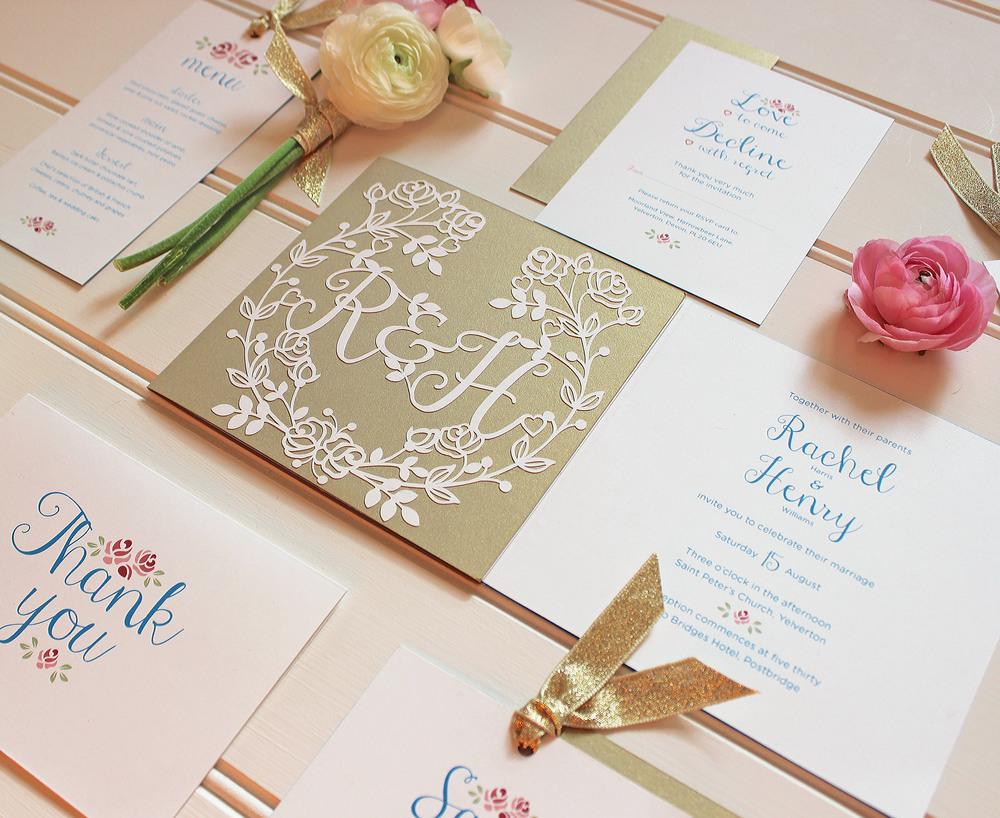 Vintage Rose Bowl Wedding Stationery — Paper Tree Design Wedding ...