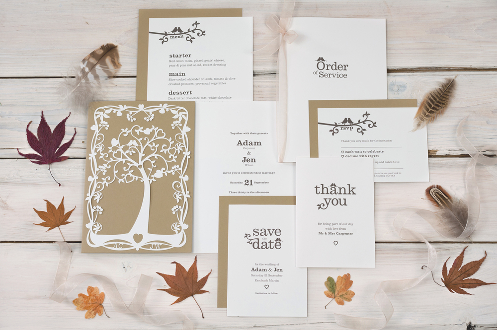 Wedding stationery ranges tree of hearts wedding stationery junglespirit Choice Image