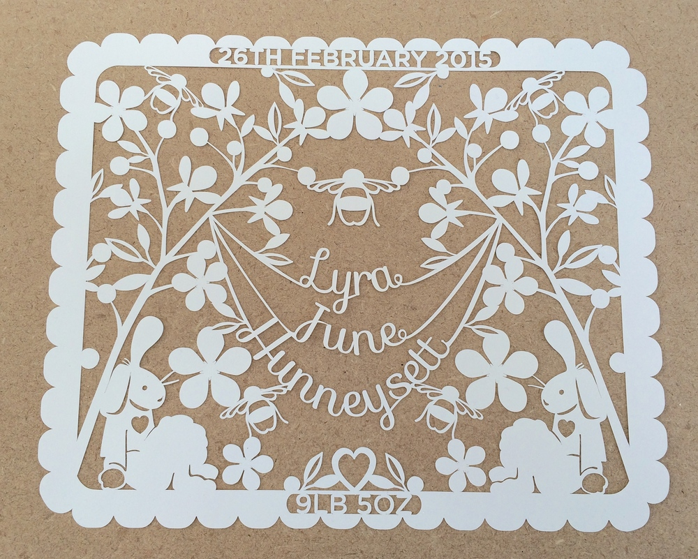 The paper cut brfore  it has been mounted up on card and decorated.