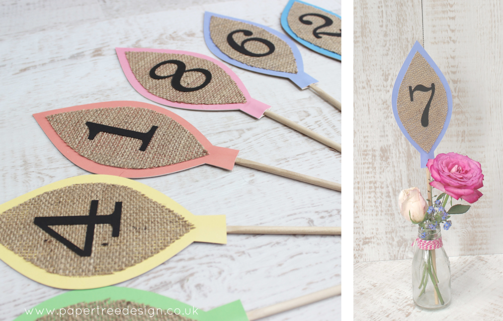 Leaf table numbers made to order in a colour of your choice, add hessisn for a rustic look or have with a white or coloured card centre.
