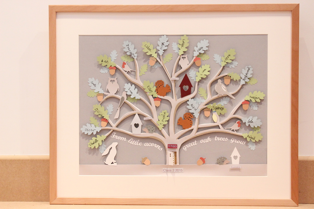 The finished  paper cut  tree framed and ready.