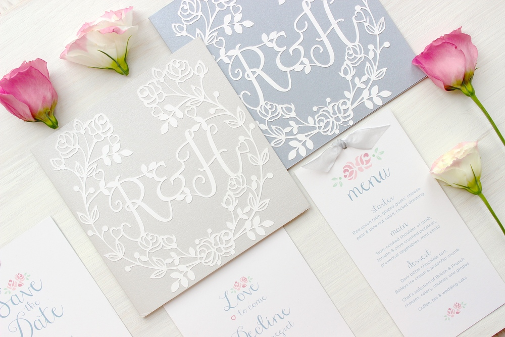 Vintage rose silver wedding stationery