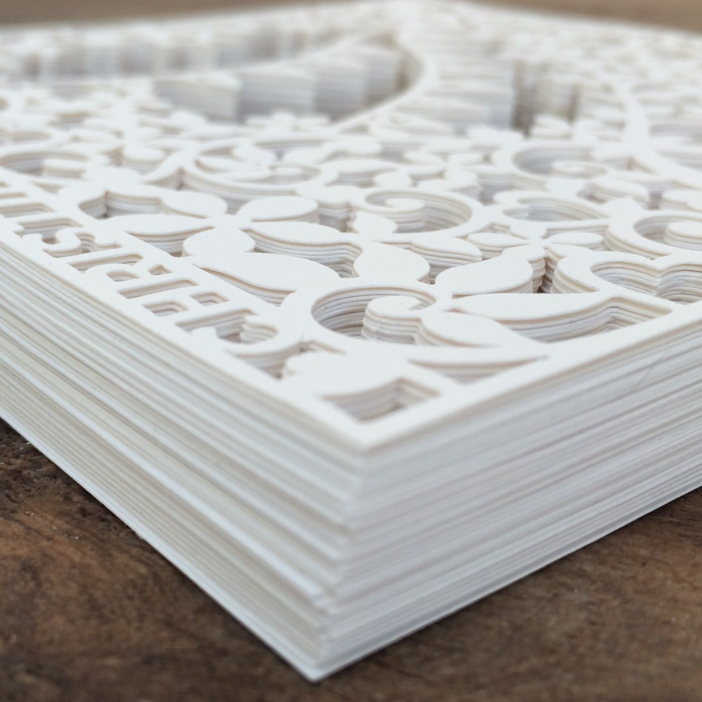 Heart laser cut wedding invitation