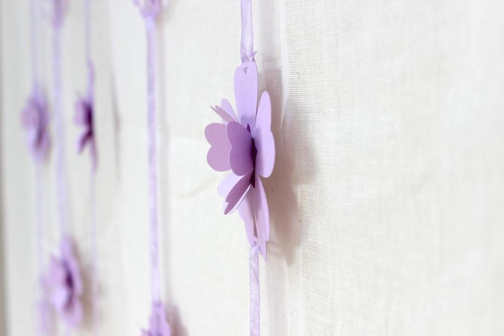 Lilac hanging paper flower garlands
