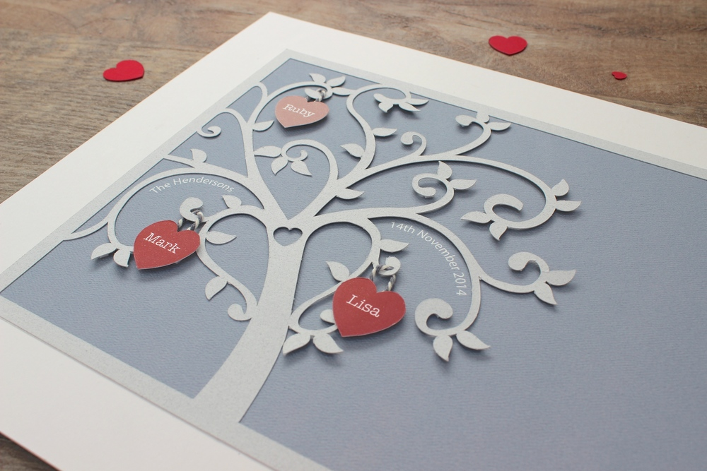 1st anniversary gift family tree paper cut wall art. 20 x 25cm