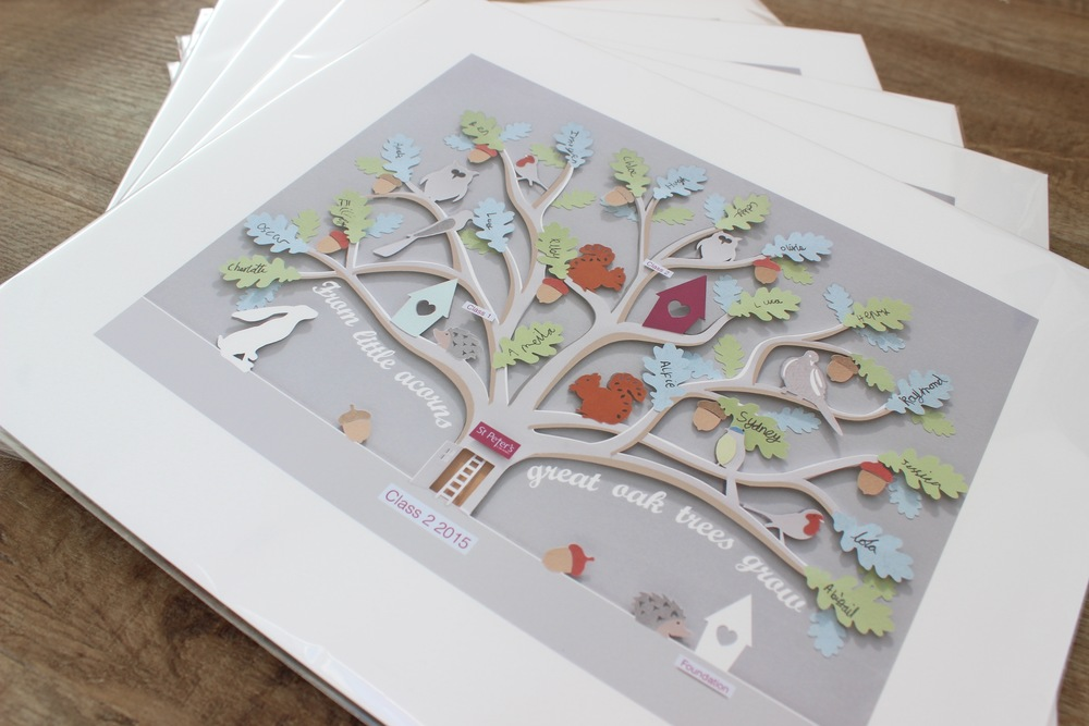 Tree house paper cut designed as a leavers present for a local infant school. Children handwrote their names on the leaves and the picture was presented to the school. Prints  of the wall art were sold  to the parents of the children leaving. 30 x 40cm