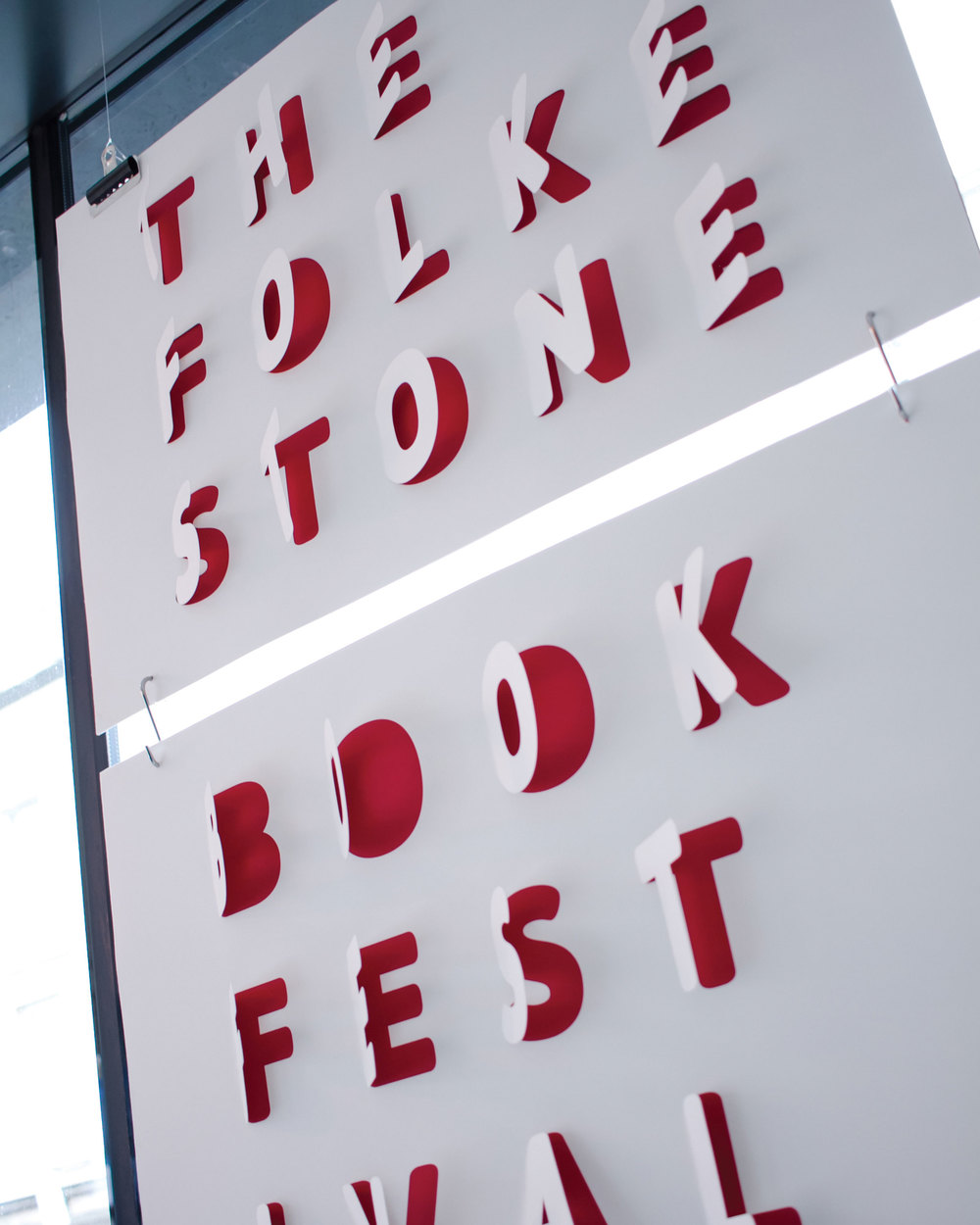 The book festival poster, opening like page in a book. Photography www.bernadettebaksa.com