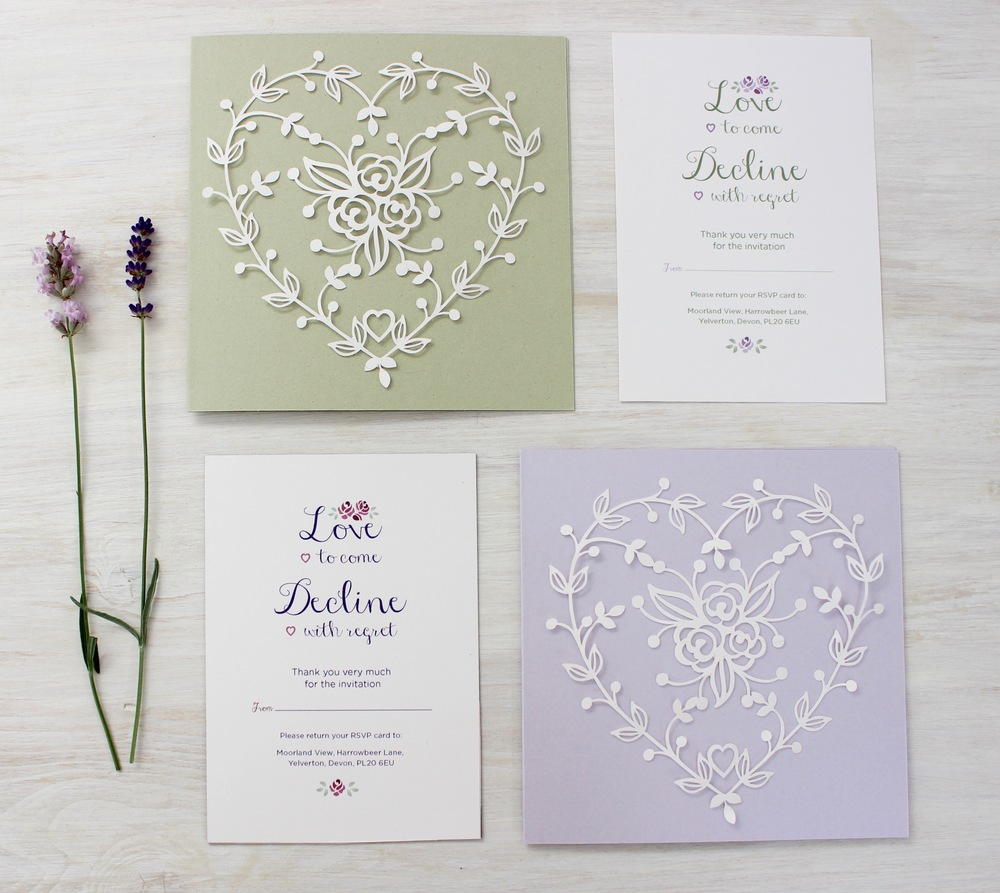 Lavender and Sage laser cut rose invitation