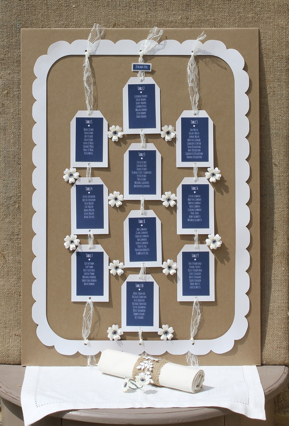 Wild rose rustic table plan