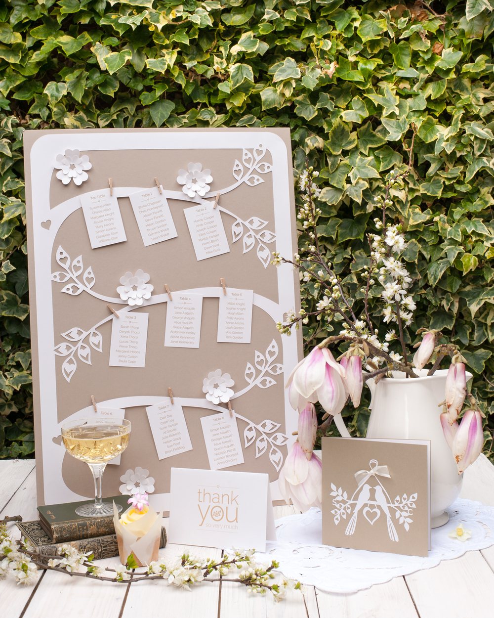 Table cards  pegged on to branges with tiny wooden pegs this plan can take 12 or more tables. This Table plan measures 42 x 60cm.