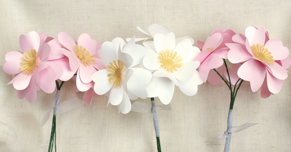 Wild rose paper flower posy