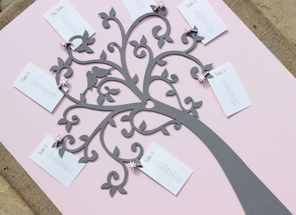 Pink and grey tree table plan