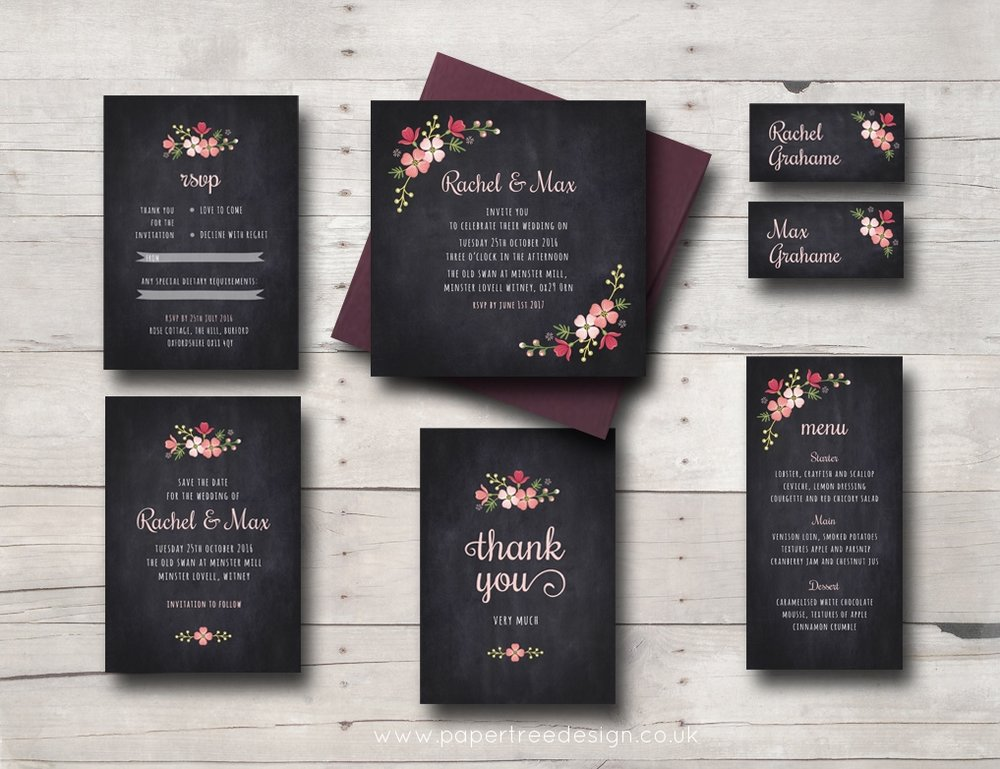 Chalkboard wedding stationery