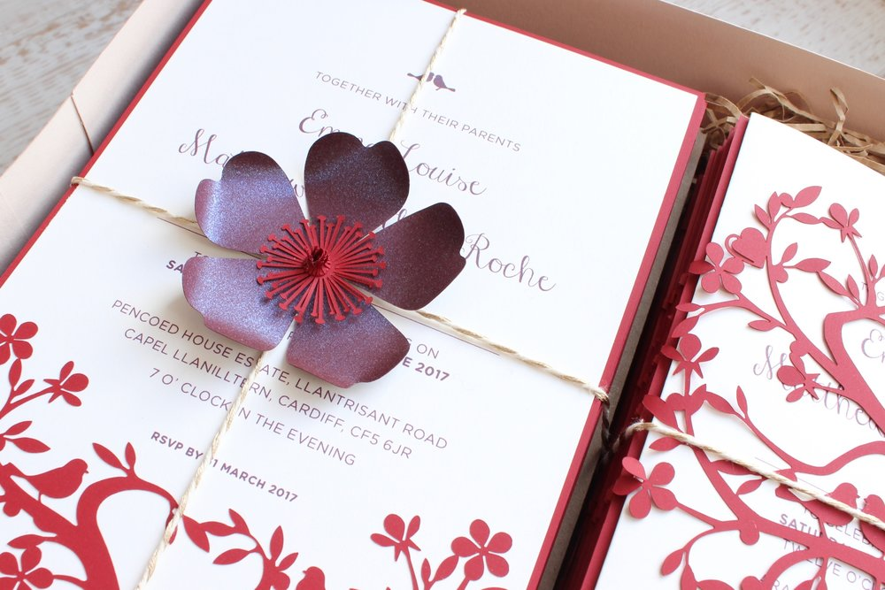 Cherry tree evening invitation
