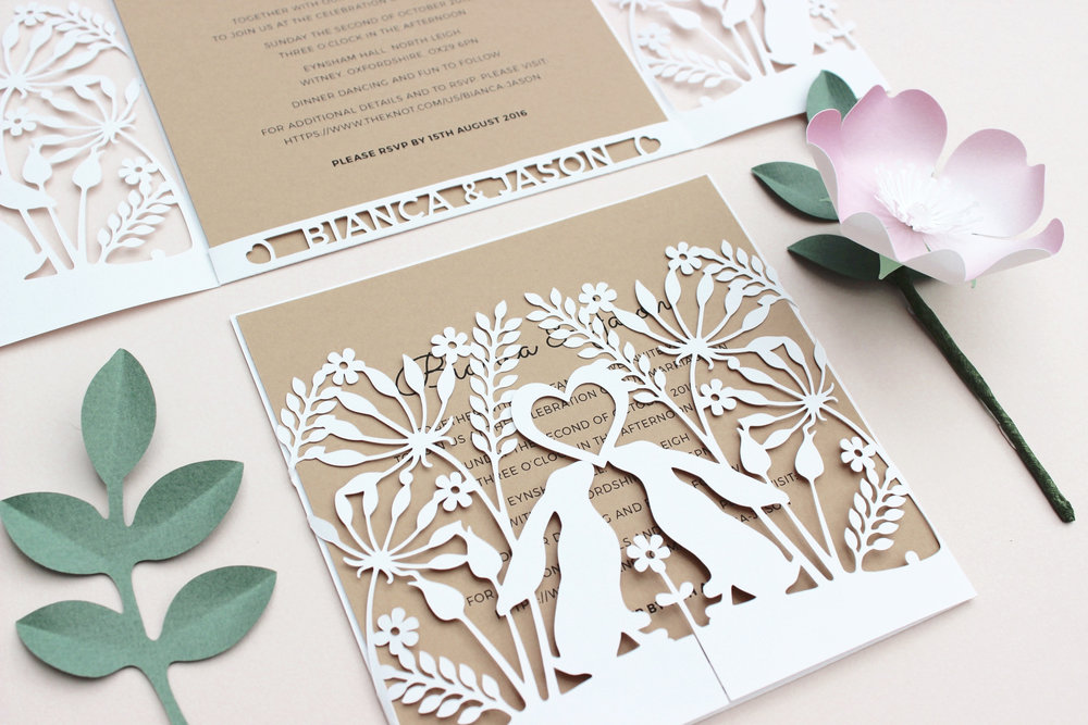 Cotswold Hares wedding invitation