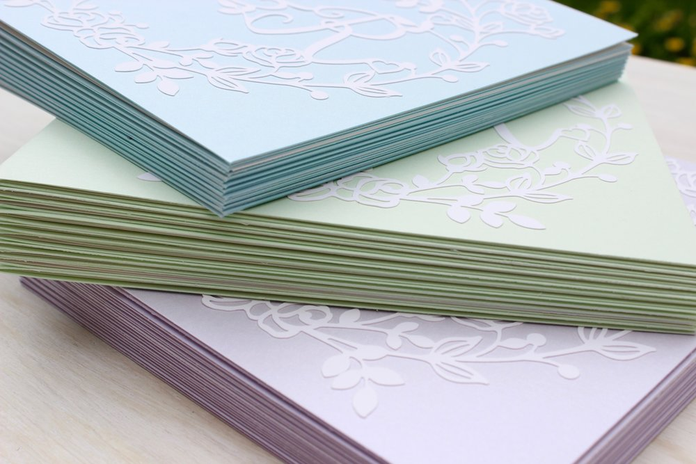 Vintage rose pastel blue wedding invitations