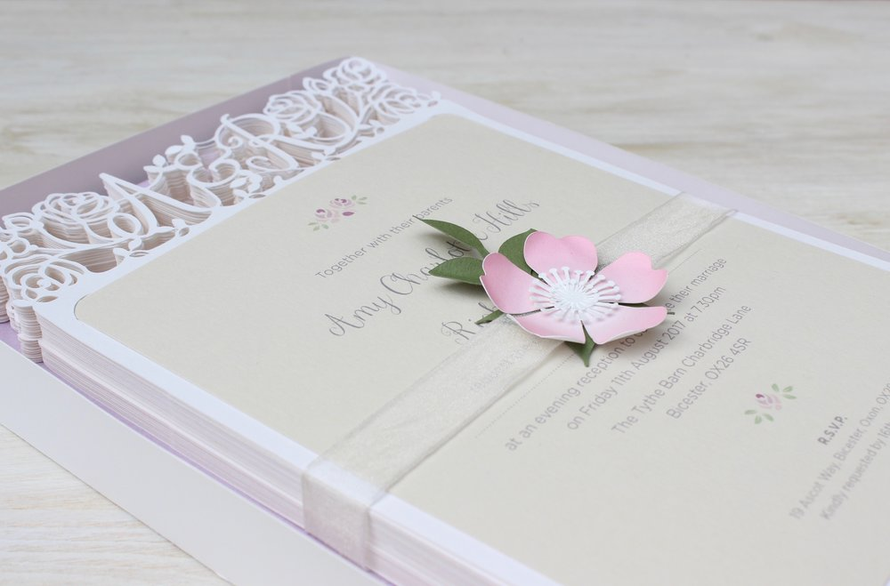 Vintage rose evening wedding invitation