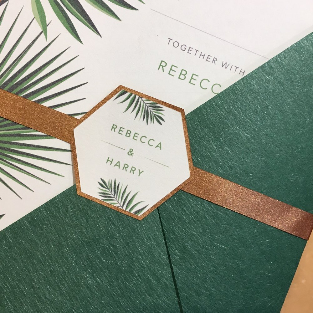 Tropical greenery wedding invitation