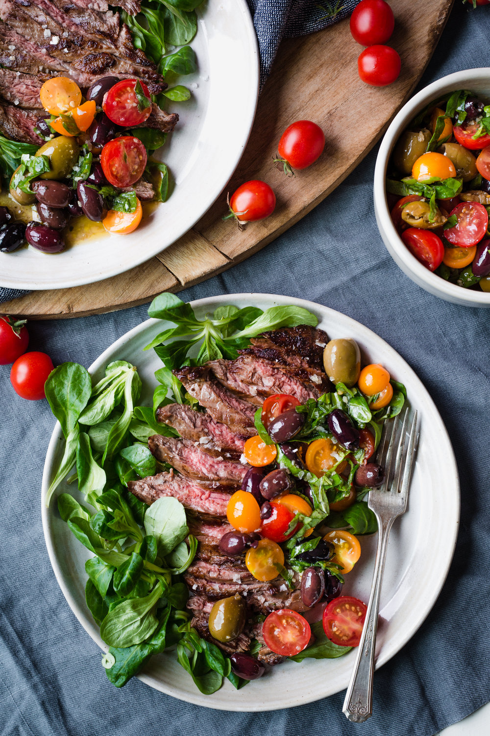 NCBA Flank Steak with Olive & Tomato Salad