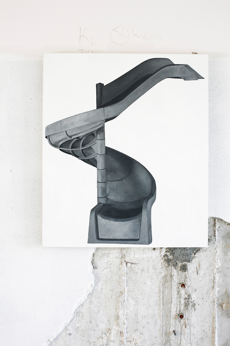 Louis Eisner  Black & White Helter Skelter  2013  Oil on linen  28 x 24 inches