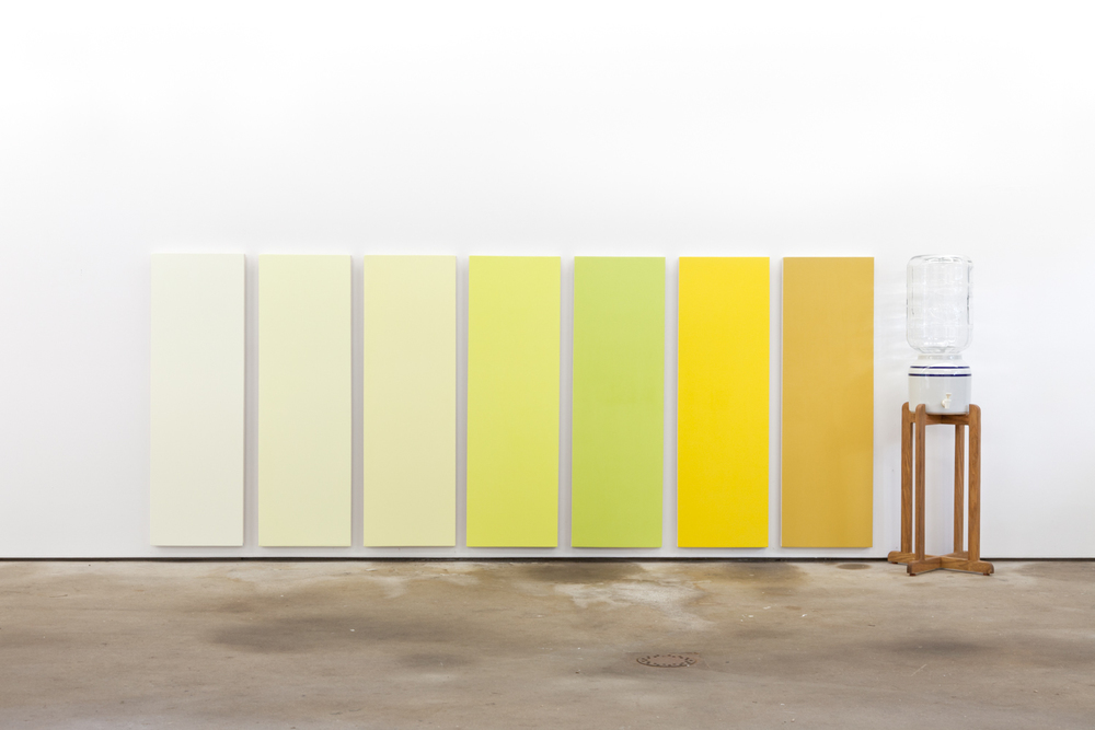 Nick Darmstaedter  Mountain Valley Urine Color Chart  2013 Acrylic on canvas with wood, porcelain, glass and spring water  50 x 135.75 x 18 inches