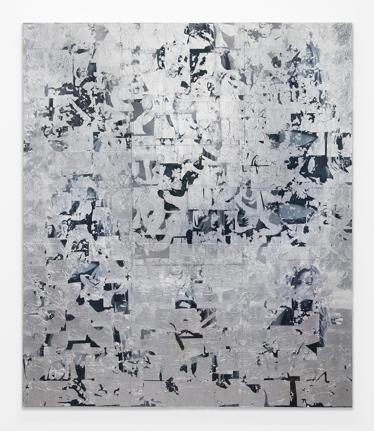 Brendan Lynch  @atlantabean 2013 Posters, aluminum leaf, matte medium and paint on wood panel 84 x 72 inches