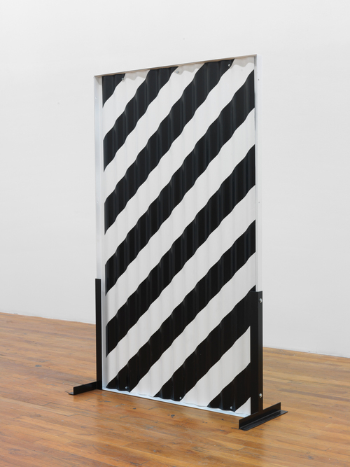 Standing Partition (diagonal stripes) 2013 Steel, Hardware, Poly-acrylic paint 60 x 36 x 16 inches