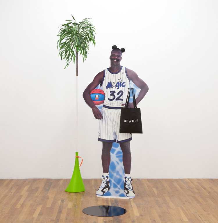 Oh no, its Magic 2012 Shaquille O'Neal cardboard cutout, broom, OHWOW tote bag, metal disc, Mickey Mouse mask, spray gun, dust pan, PVC pipe, plastic 102 x 77 x 60 inches