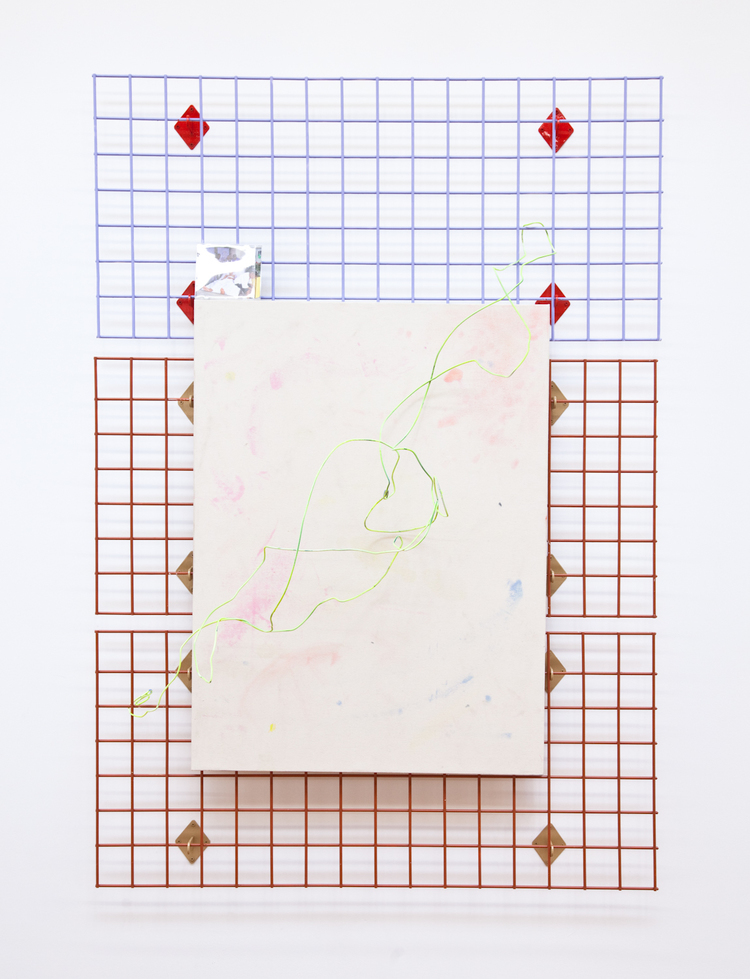 Graceland 2012 Metal grid, enamel, wire, spray paint, jewel case, paper, Alex Perweiler's Napkin Drawing 69 ½ x 48 x 14 ½ inches
