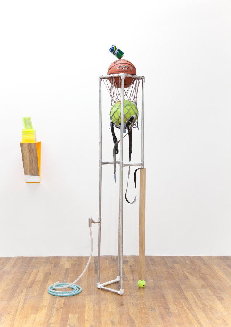 Minimalist Homeboy 2012 PVC pipe, plexiglass, mirror, jewel cases, spray paint, paper, Dylan Lynch's Getting Buff, tube, detergent, chewing gum, basket 81 x 61 x 59 inches