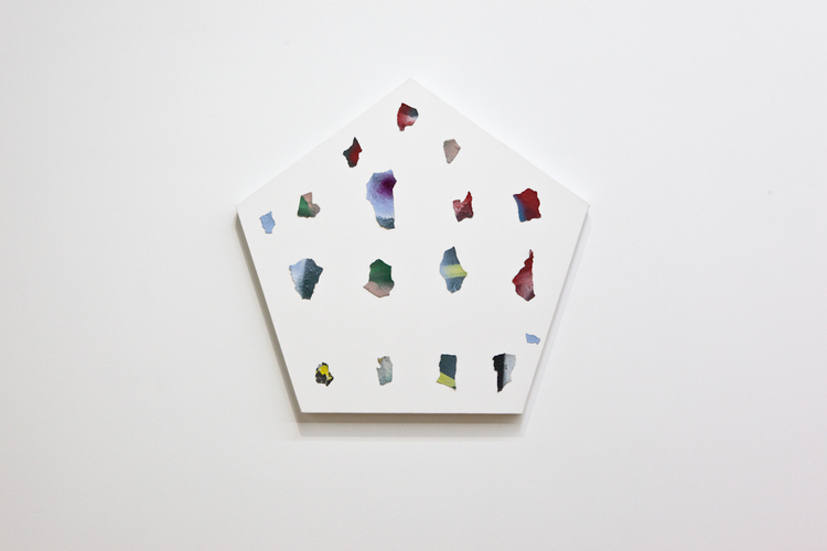 Prehistoric Confetti Again 2011 Found paint chips, enamel, and glue on wood 28 x 29 inches