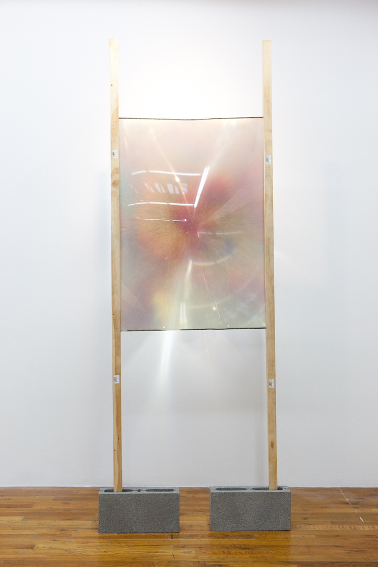Scenic View Zone 2011 Fresnel Lens, wood, cinderblocks, colored sand, and glue on wood 32 x 4 x 94 inches and 18 x 24 inches