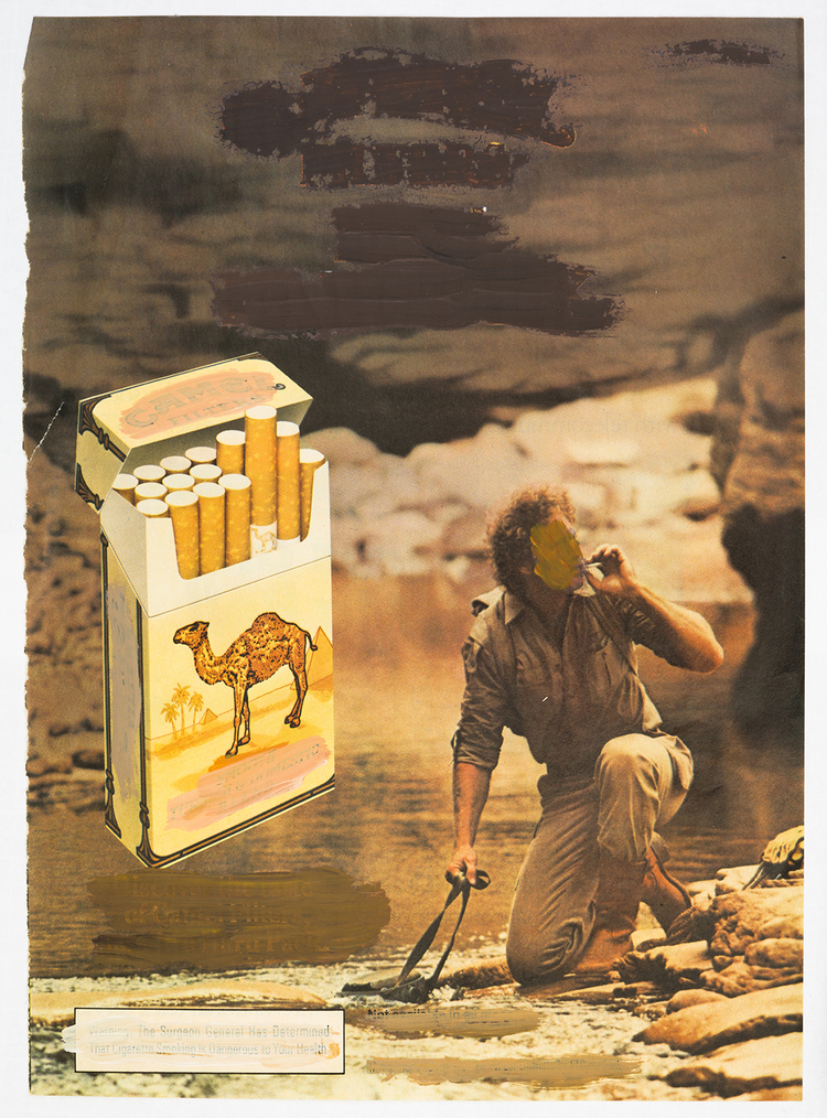 Mark Flood Muted Camel Ad 1983 Acrylic on magazine page 10 3/4 x 8 1/4 inches