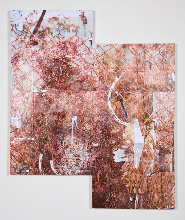 Jack Greer Spray Bush 8 2012 Inkjet prints, gel medium, screws, enamel and acrylic paint on wood panel 72  60 inches