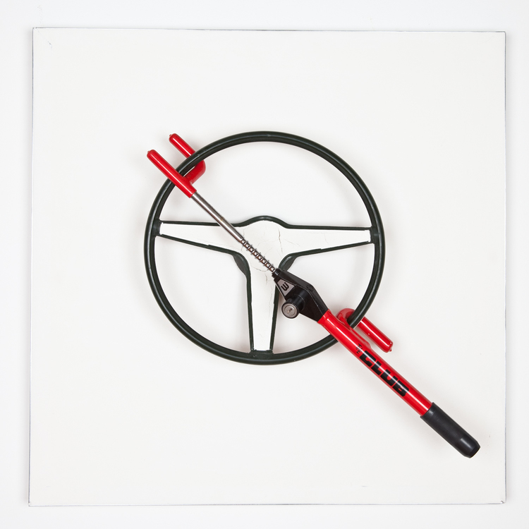 Nick Darmstaedter Koon, Powell, Briseno and Wind 2012 Metal, rubber, joint compund 32 x 32 inches