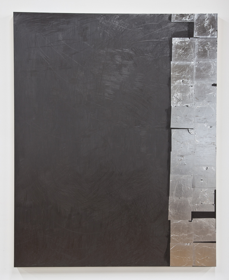 Brendan Lynch Shake Well 2012 Graphite and aluminum leaf on wood panel 60 x 48 inches