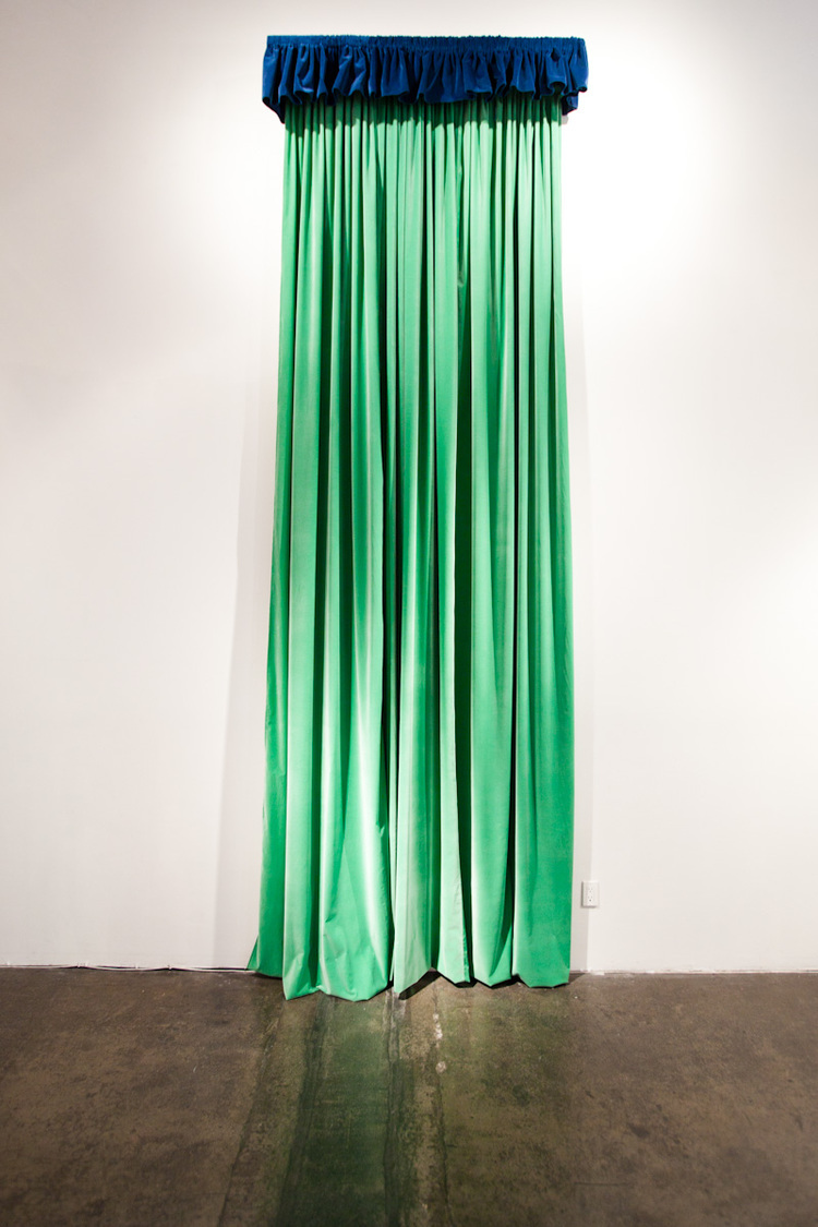 Nicholas Darmstaedter  Tall Green and Handsome   2011   Velvet, wood, and steel   148 x 53 inches
