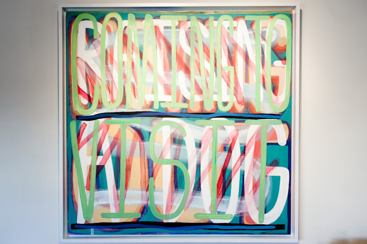 Jack Greer Moving Out, Raising A Dog, Coming To Visit 2011 acrylic on canvas in artists frame 51 x 51 inches