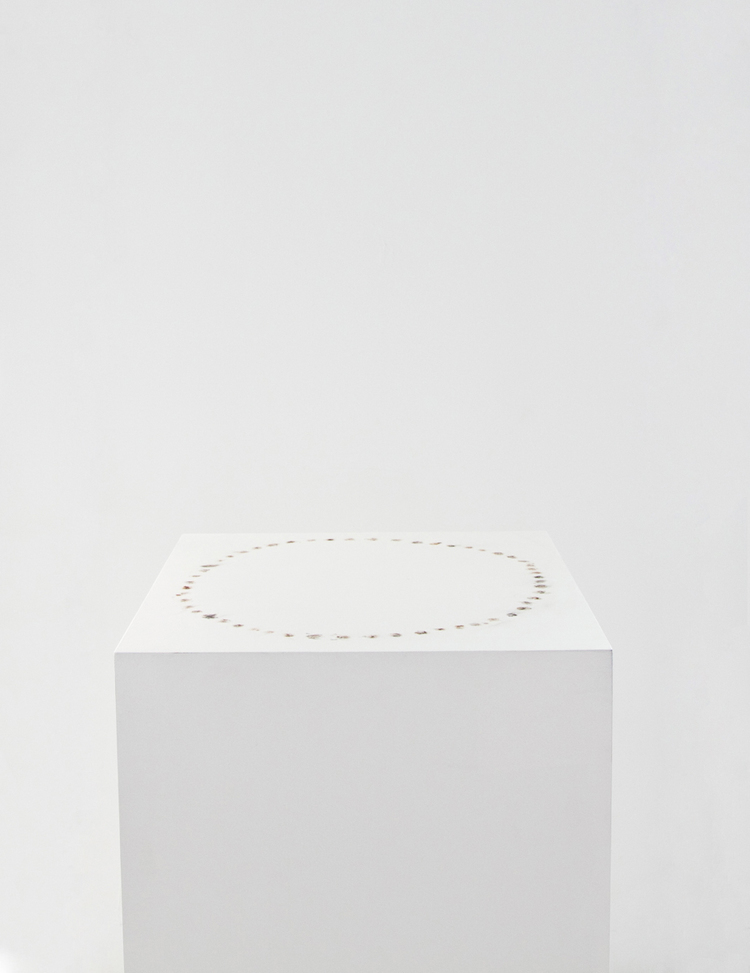 Brendan Lynch Chain Smoker 2010 Pedestal and cigarette burns Dimensions variable