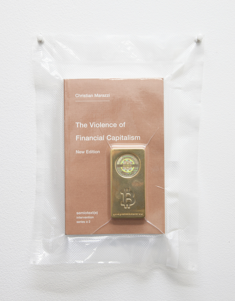 Brad Troemel  TSA No Fly List Vacuum Sealed Christian Marazzi -'the VIOLENCE of financial capitalism' with 100 BITCOIN gold plated bar, 2013 10 x 8 inches