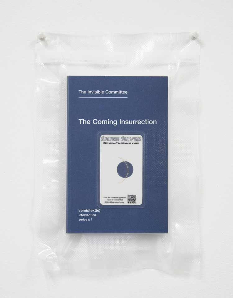 Brad Troemel TSA No Fly List Vacuum Sealed Invisible Committee -'The Coming Insurrection' with $10 Shire Silver laminated car, 2013 10 x 8 inches
