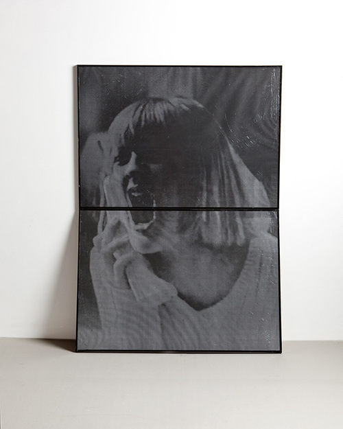 Double Courtney (Good Women + Negative Creep)  2011 Picture frames, enamel, xerox, vaseline 40 x 60 inches