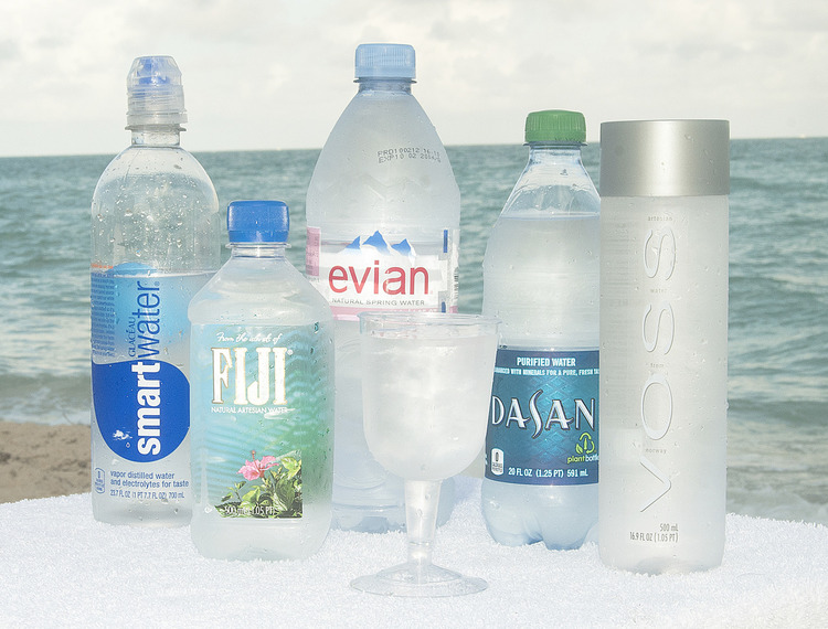 International Waters  2012 1 part Fiji bottled water, 1 part Poland Spring bottled water, 1 part Evian bottled water, 1 part Dasani bottled water, 1 part Arrowhead bottled water, 1 part Voss bottled water, 1 part Smartwater bottled water, spritz with tap water