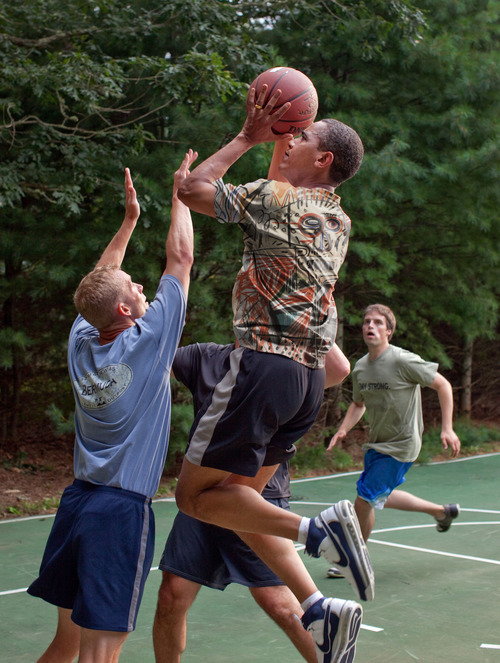 Obama Playing Basketball in Basquiat Shirt  2012