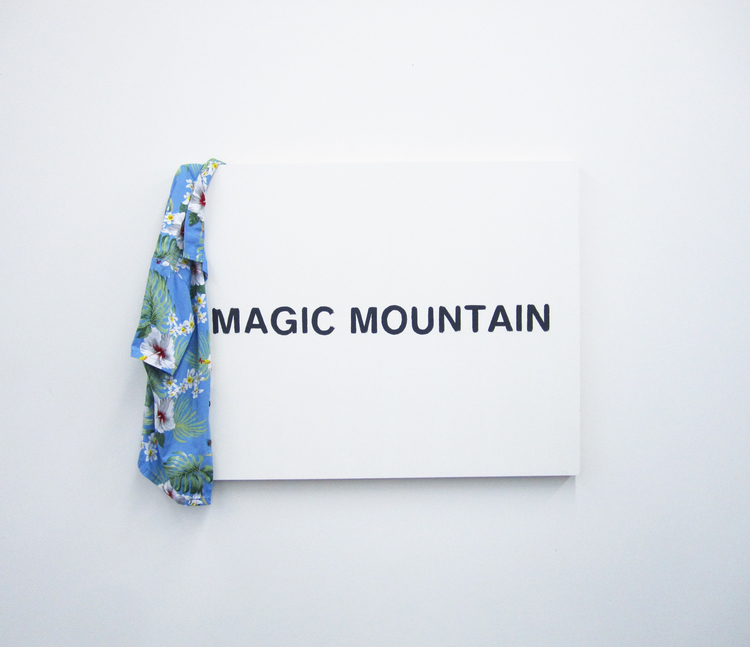 Magic Mountain  2013 Hawaiian shirt, house paint, and graphite on wood panel 30 x 40 inches