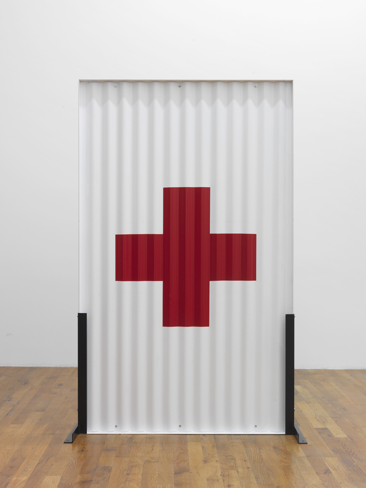 Standing Partition (red cross) 2013 Steel, Hardware, Poly-acrylic paint 60 x 36 x 16 inches