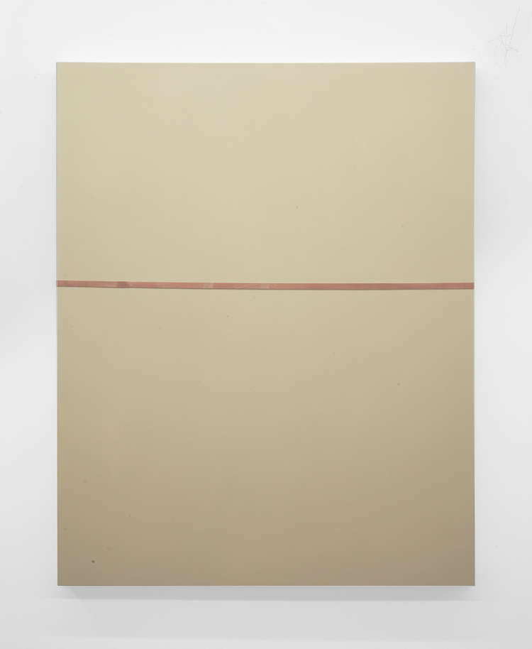 Tan Line 2013 Oil, industrial rubber band on canvas 60 x 48 inche